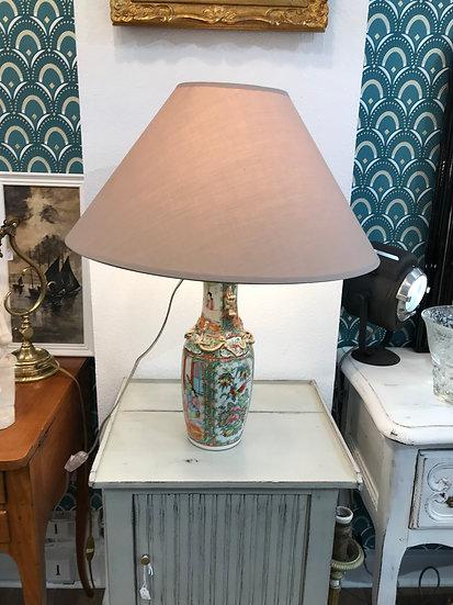 Lampe en porcelaine de Chine de Canton époque fin XIX ème