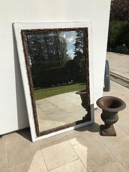 Grand et ancien miroir de cheminée ou trumeau fin XIX ème en chêne patiné blanc