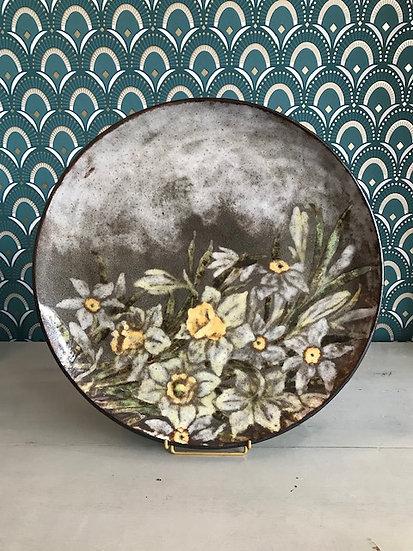 Grand plat en céramique de Vallauris signé A Kostanda vintage milieu XX ème