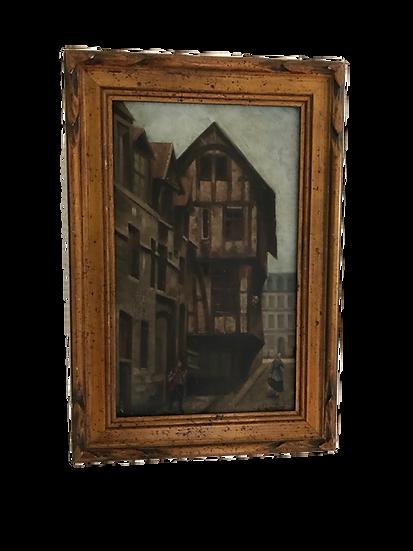 tableau ancien huile sur panneau époque XIX ème Rouen Normandie