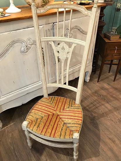 Ancienne Chaise De Nourrice Patinée Blanc Assise Paillée époque Fin XIX ème Bon