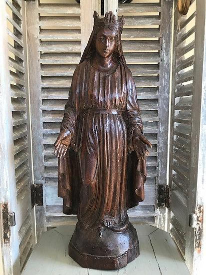 Ancienne statue vierge en bois époque XIX ème