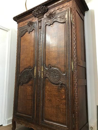 Ancienne armoire normande dite de mariage époque milieu du XIX ème siècle