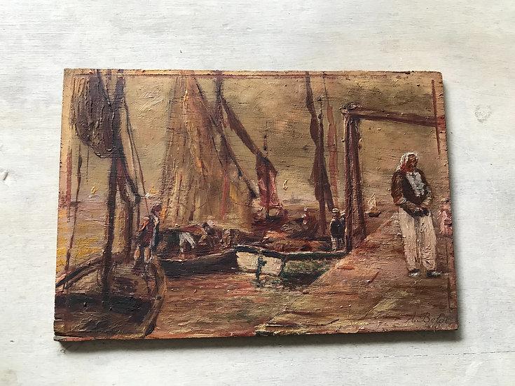 Petit tableau ancien marine sur panneau de bois début du XX ème siècle