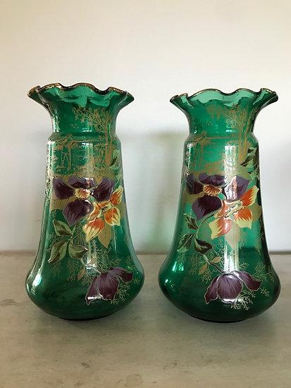 Paire de vases en verre émaillé circa 1900 Legras