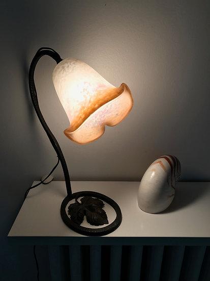 Lampe art déco en fer forgé avec sa verrerie Rethondes circa1930
