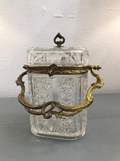 Ancien seau à biscuit en verre taillé du XIX ème