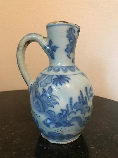 Pichet En Faience Bleu Et Blanc, Delft XVIII ème, décor au chinois