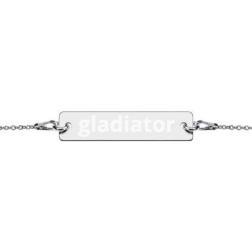 Engraved Silver Bar Chain Bracelet (Gladiator)