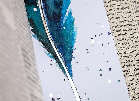 Lesezeichen Feder Blau-Silber
