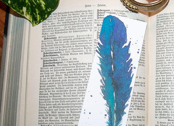 Lesezeichen blau-türkise Feder