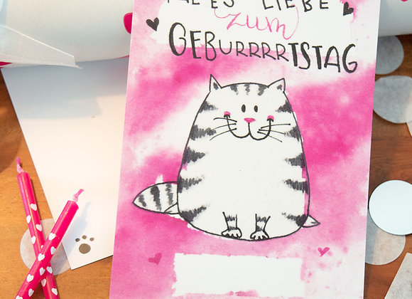 "Geburtstagskarte ""Happy Pink Cat"""