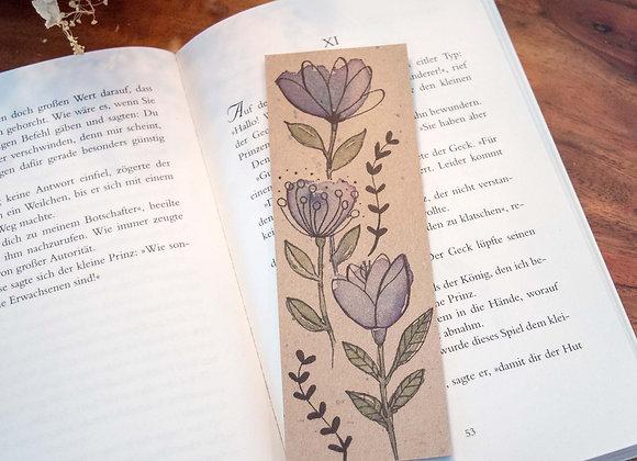 Lesezeichen blaue Blumen