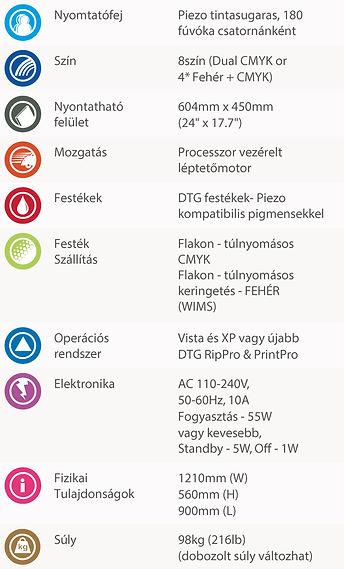 DTG M2 pólónyomtató gép specifikációk