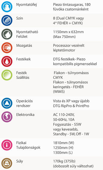 DTG M6 pólónyomtató gép specifikációi