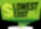Zöld színű legalacsonyabb költség/nyomtatás grafika fekete és sárga betűvel