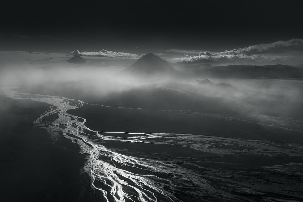 Sandstorm hitting mountai Maelifell in the highland of Iceland. Beautiful landscape.