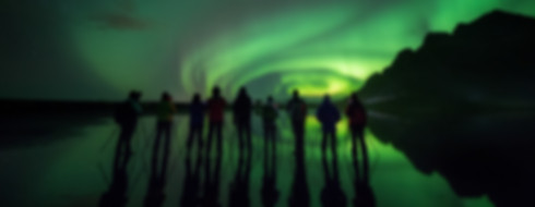 People photographing the norhern lights