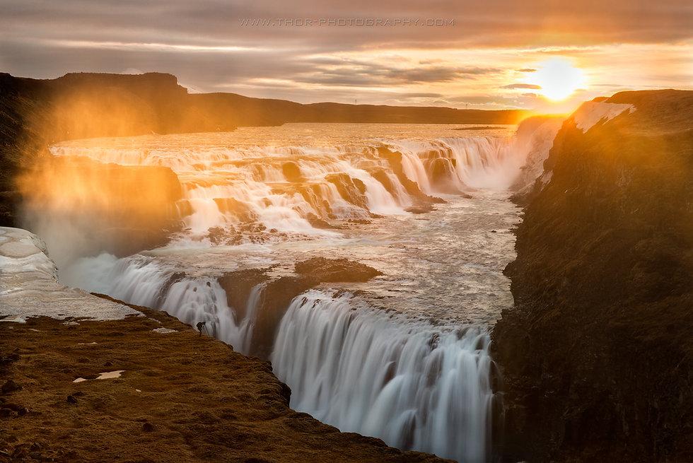 The majestic waterfall Gullfoss in Iceland.