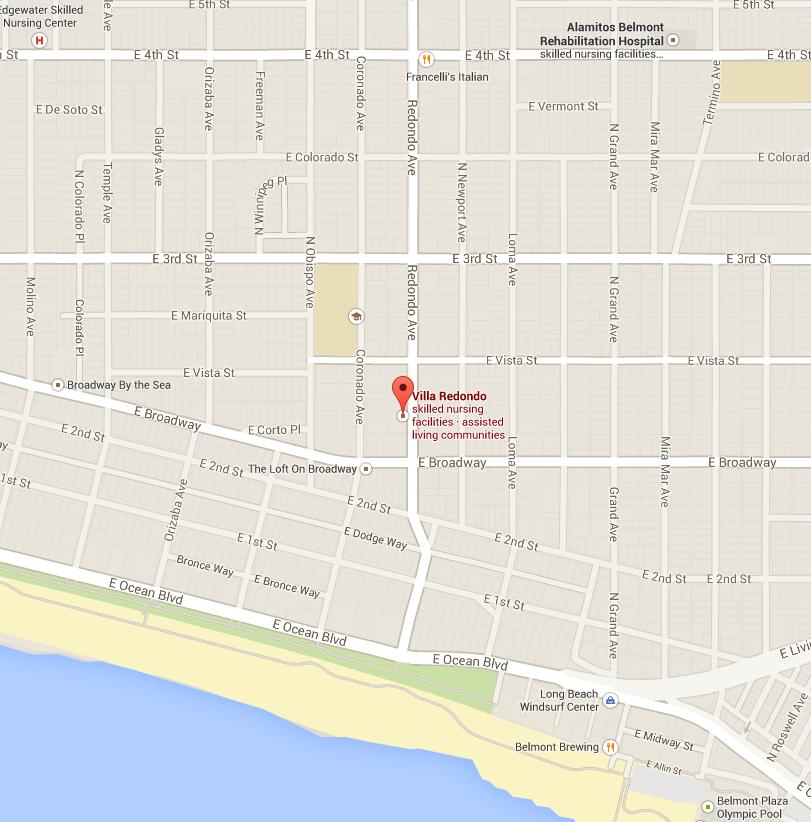 Map with location marker indicating Villa Redondo