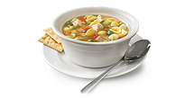 Image of a bowl of soup with crackers