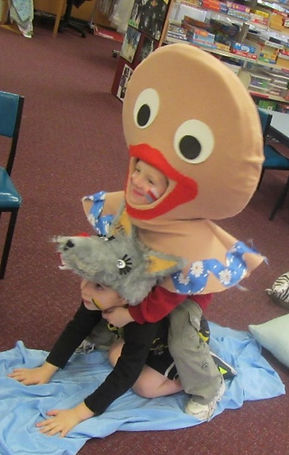 Children use props and/or dress-ups with understanding and imagination.