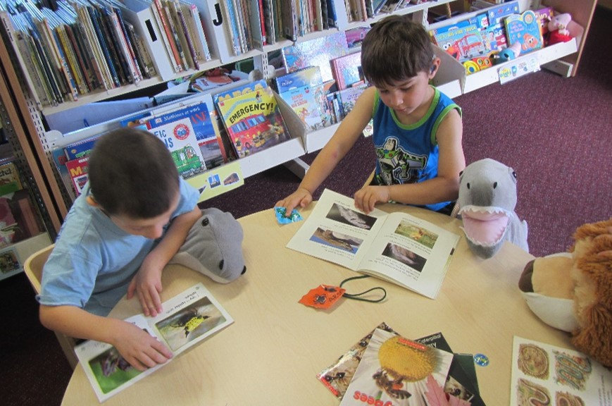 Children enjoy looking at the pictures in books and making comments about what interest them.