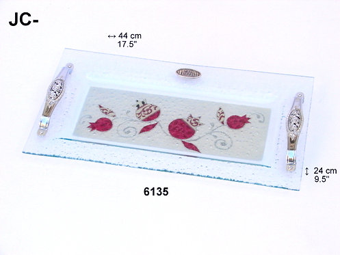 GLASS CHALLAH SERVING TRAY