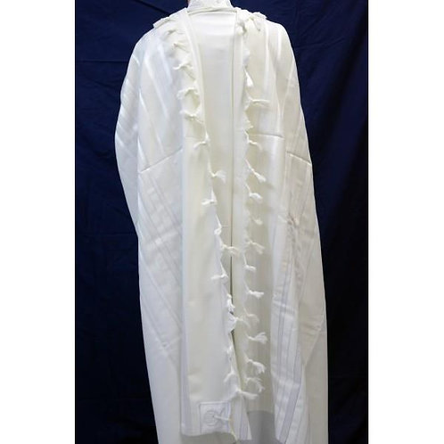 WHITE AND SILVER WOOL TALLIT