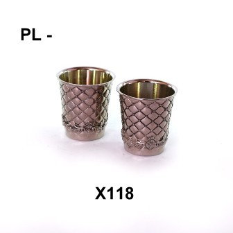 A PAIR OF SILVER PLATED KIDDUSH CUPS