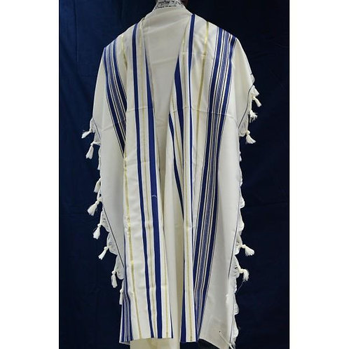 BLUE AND GOLD WOOL TALLIT