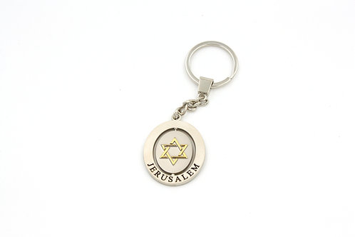 STAR OF DAVID SPINNING OVAL KEY CHAIN