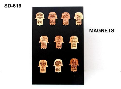 ASSORTED WODDEN HAMSA MAGNETS