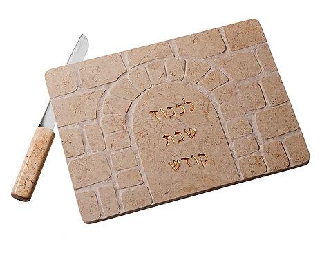STONE CHALLAH TRAYWITH MATCHING KNIFE