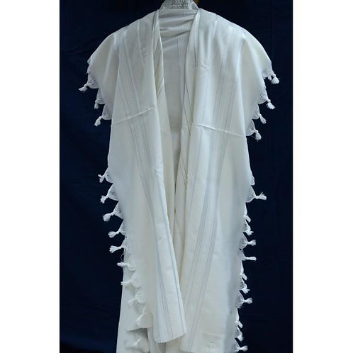 WHITE AND GOLD WOOL TALLIT