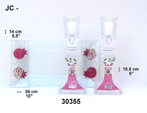SHABBAT CANDLESTICKS WITH TRAY