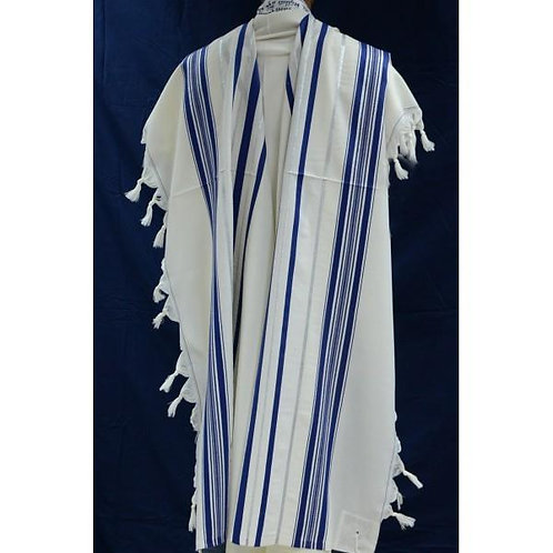 BLUE AND SILVER WOOL TALLIT