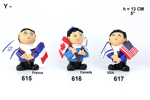 FIMO FIGURE OF A BOY HOLDING FLAGS