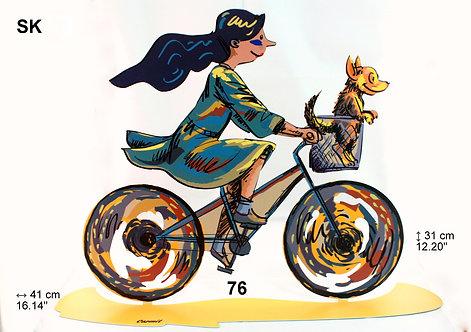LAZER CUT WOMAN ON BICYCLE