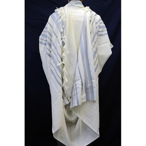LIGHT BLUE GREY SILVER MAALOT TALLIT