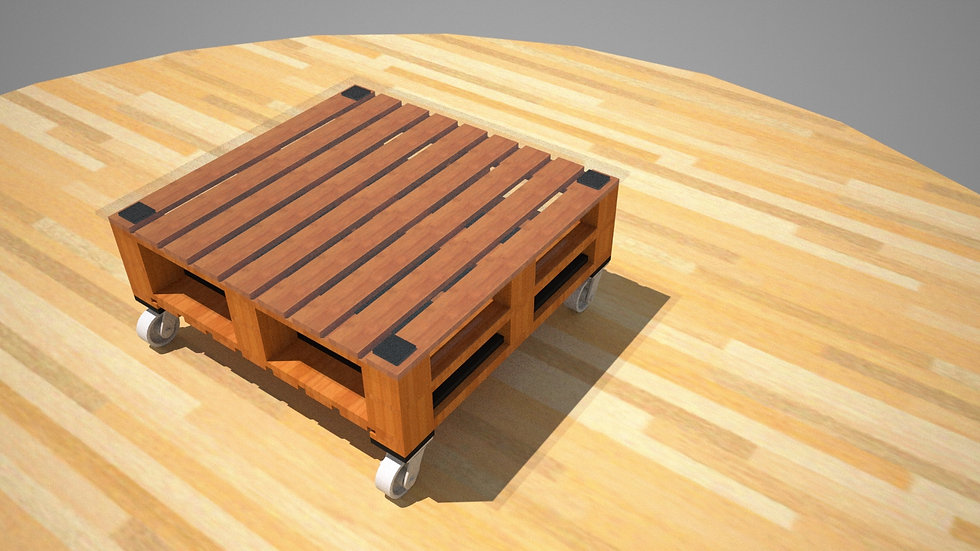 Coffee Table with Casters in 2x2 style