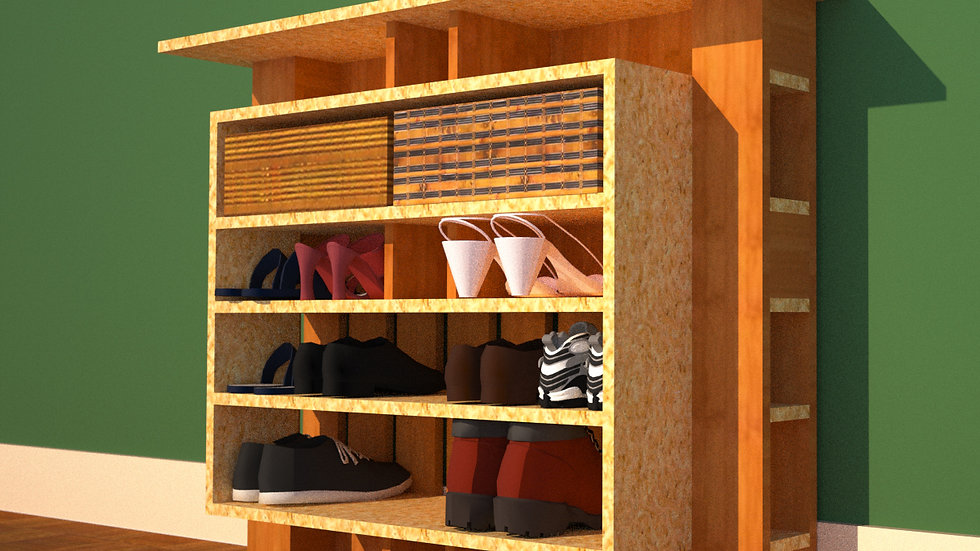Hallway Shoe Shelf  44x36 Framed