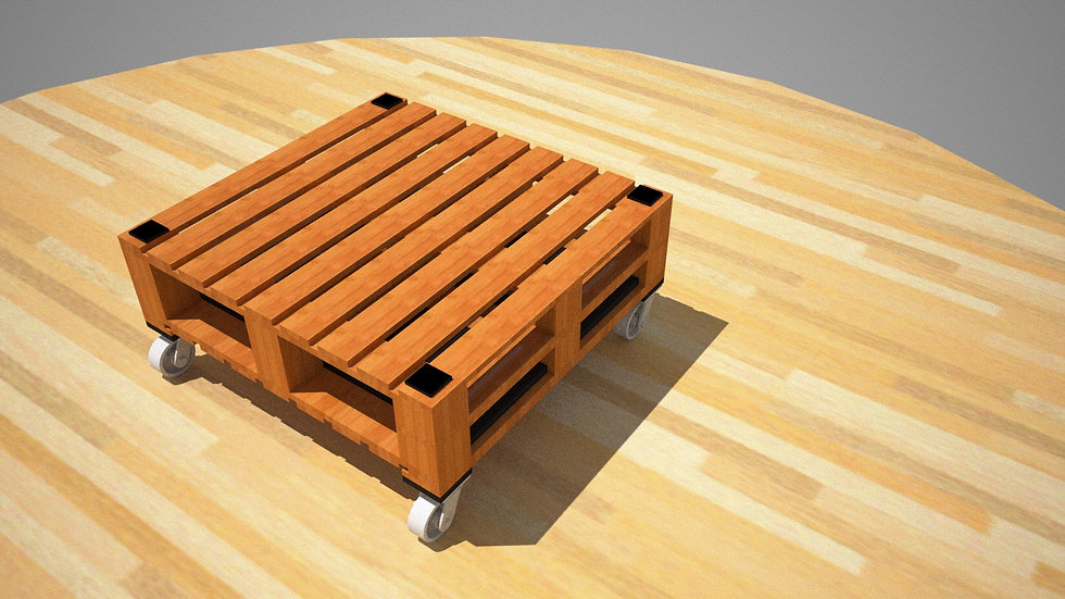 Coffee table with cool casters 2 x 2 style