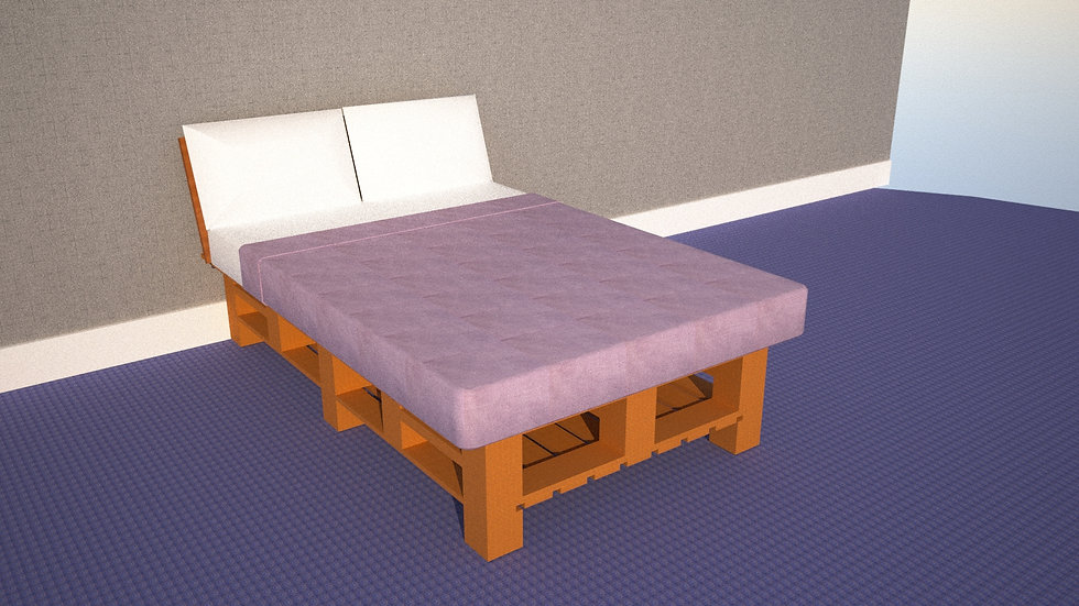 Full Size Bed Platform with Block Feet