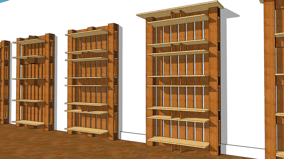 Bookshelf with Straight Front Double Shelves