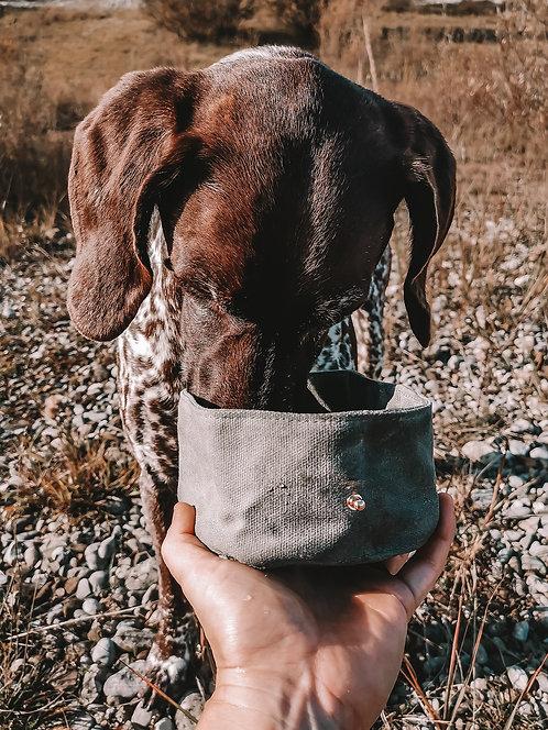 Faltbarer Reise Hundenapf aus gewachstem Canvas