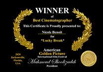 Nicole Benoit Best Cinematographer Winne