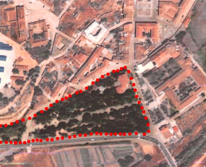 plano Hostal y solar con bosque