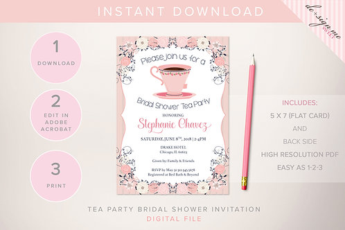 DIGITAL Tea Party Bridal Shower Invitation - INSTANT DOWNLOAD