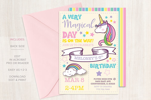 DIGITAL Rainbow Unicorn Birthday Invitation - INSTANT DOWNLOAD